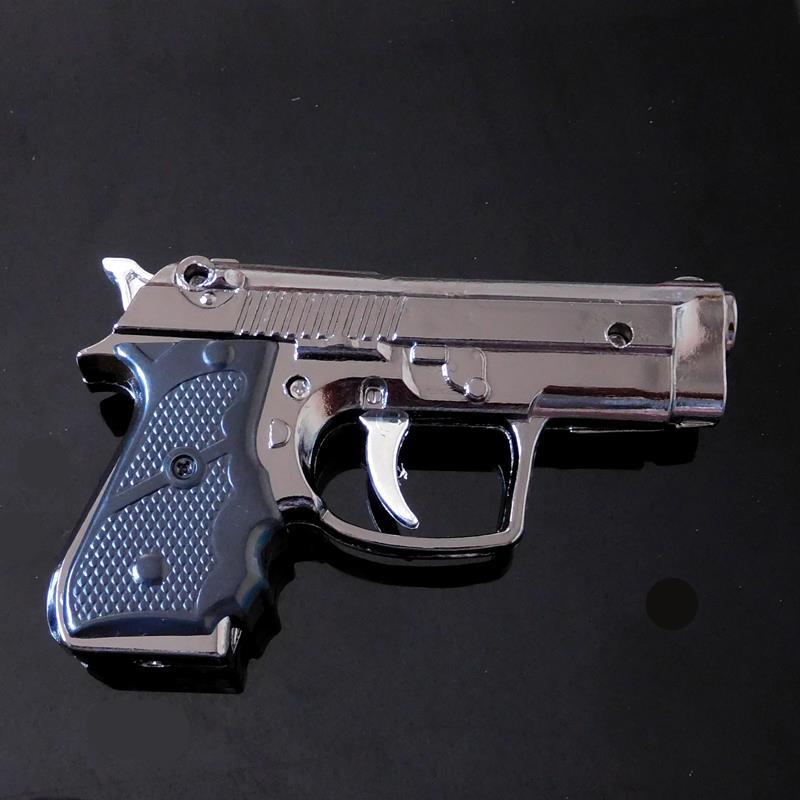 Metallic paint windproof torch lighter High quality gun metal arms gadgets cigarette lighter Metal Model gas pistol lighter(China (Mainland))