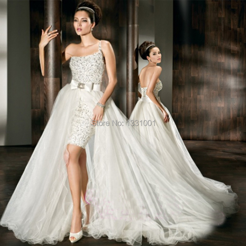2 in 1 wedding dress long and short bridal dresses 2015