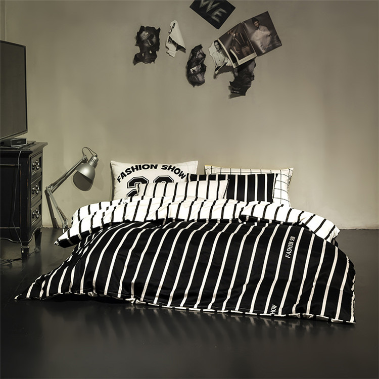 Fashion bedding sets black and white striped duvet cover brand bed set bed sheet twin/queen size bed linen/bed cover/bedspreads(China (Mainland))
