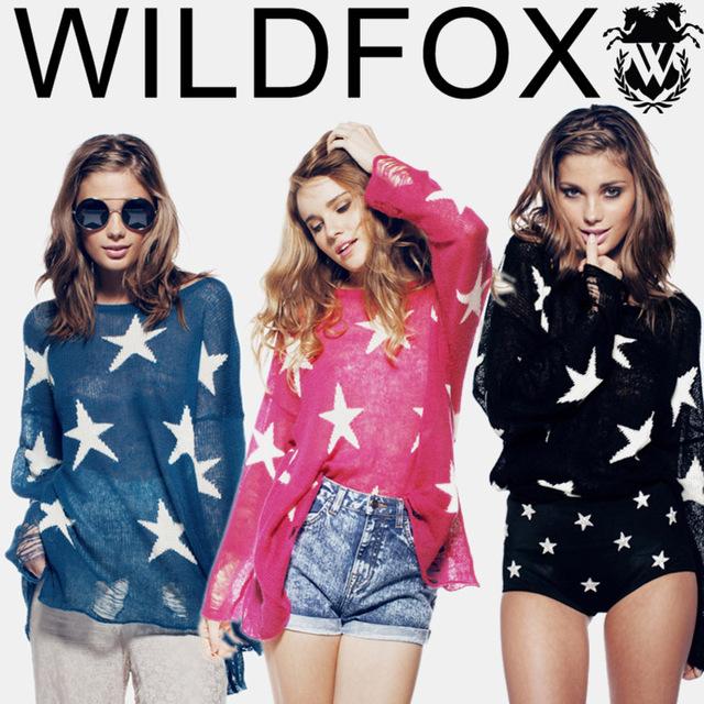 Мода осень 2015 wildfox женщины отверстие свитер свободный Большой размер свободного ...