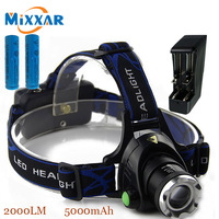 ZK30 Cree XM L T6 2000LM Led Headlamp Head Light Adjustable Focus Rechargeable For Camping 2