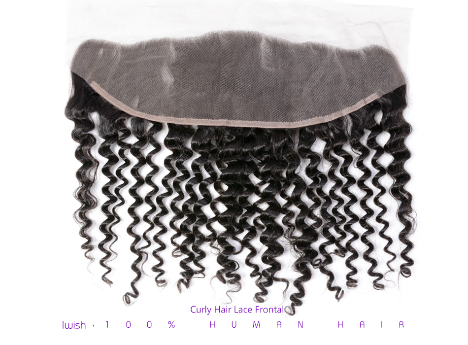 Iwish Curly Hair Lace Frontal Brazilian Remy Hair 13×4 inch From Ear to Ear Closure Free Part 100% Human Hair 8-20 inch