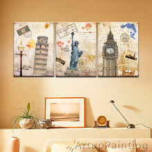 LARGE 3 Panels Art Canvas Print beautiful New York London Pairs Pisa City Home Decor Cityscape wall Decal Ready to Frame(China (Mainland))