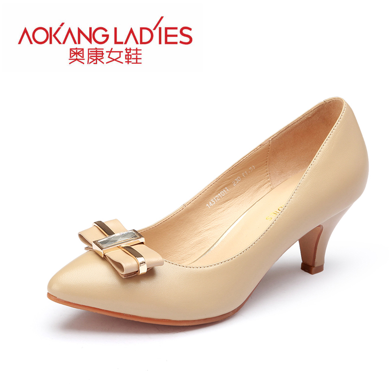 AOKANG 2015New Arrival High Heels Ladies Shoes Elegant shoes Diamond Bowtie  Shoes<br><br>Aliexpress
