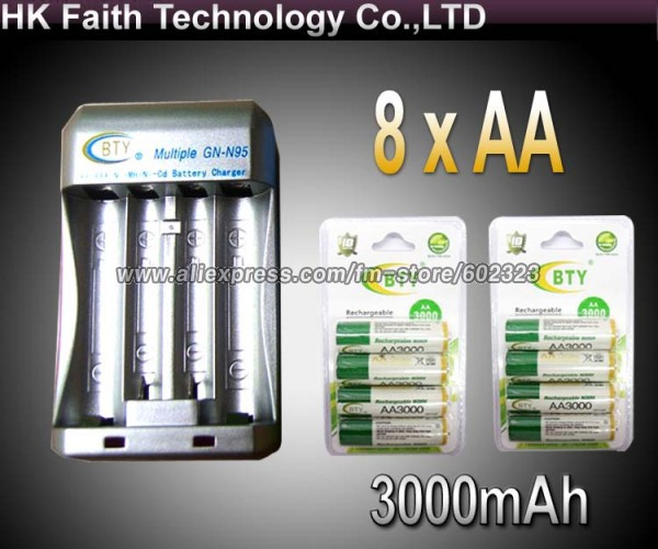 Hi-speed Quick AA AAA Rechargeable Battery BTY Charger +8x AA 3000mAh 1.2V NI-MH Rechargeable Battery BTY<br><br>Aliexpress