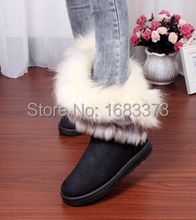 2015 del estilo caliente de conejo zorro artificial diseño fur dentro de mujeres botas para la nieve botas zapatos de mujer de invierno(China (Mainland))