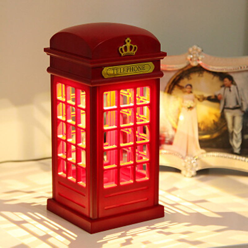Retro London Touch Telephone Booth LED Light USB Rechargeable Desk Lamp Night Light Bedside Table Lamp Adjustable Lighting(China (Mainland))