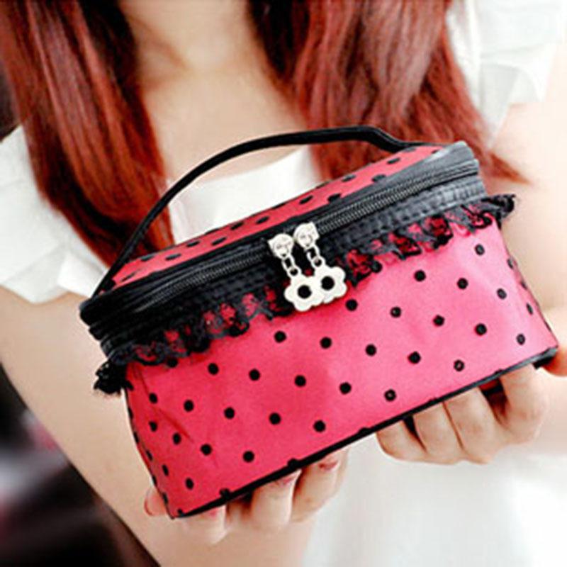 10pcs South Korean Lovely Professional Cosmetic Dot Lace Handbag Large Capacity Portable Storage Wash Cosmetic Cases organizer(China (Mainland))