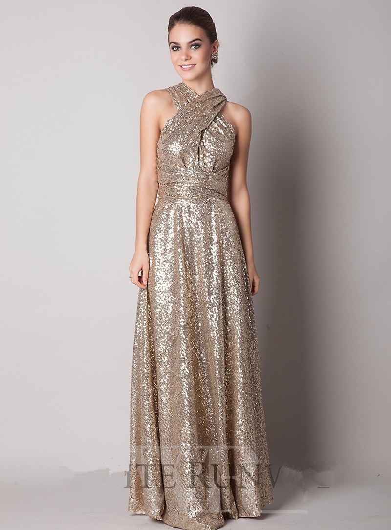 Rose Gold Champagne Sequin Bridesmaid Dress 2015 New High ...