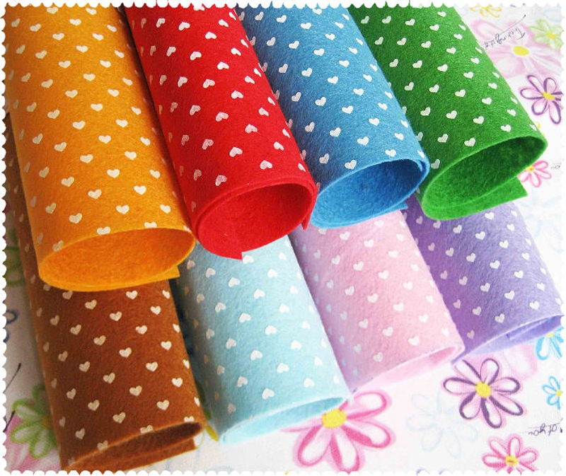 27 sheets mixed pattern 15x15cm polyester felt fabric for Polka dot felt fabric