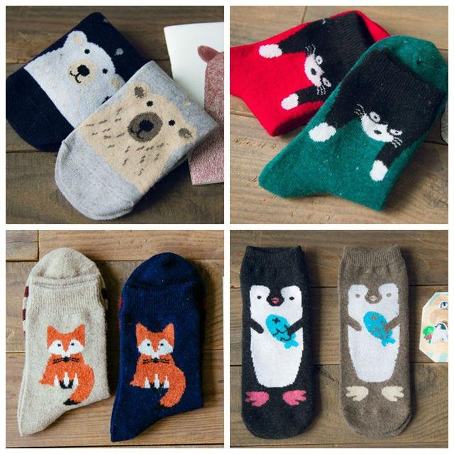 Осень каваи животных мультфильм трубке носки женщины симпатичные фокс кошка пингвин белый медведь рисунком носок забавный марка Caramella шерстяные носки