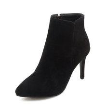 WETKISS Yüksek Topuklu Ayak Bileği Kadın Çizmeler Sivri Burun Ayakkabı Akın Kadın Çizme Zip parti ayakkabıları Kadın 2018 Kış Artı Boyutu 34 -47(China)