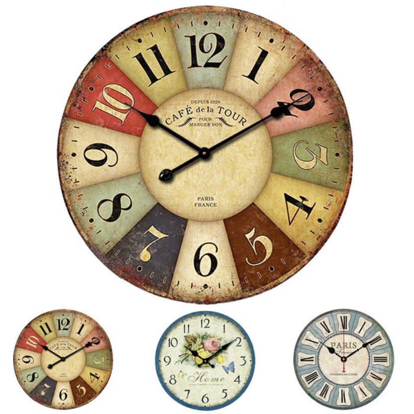 Prevalent New Mediterranean European rural countryside retro living room wall clock Free Shipping Apr1(China (Mainland))