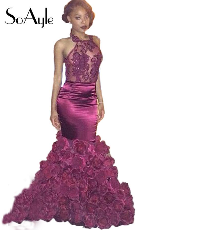 SoAyle Black Girl Mermaid Open Back Flowers Buttom Africa Grape robe de soiree Women's Prom Dresses - Lilytown's Wedding Store store