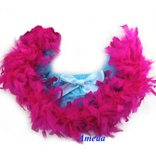 Newborn Baby Blue Pettiskirt with Hot Pink Feather 0-6M(Hong Kong)