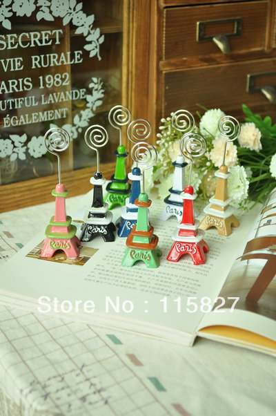 Free shipping!4pc/lot Resin eiffel tower Namecard holder Memo Clip Note Holder model house and table decoration photo decoration(China (Mainland))