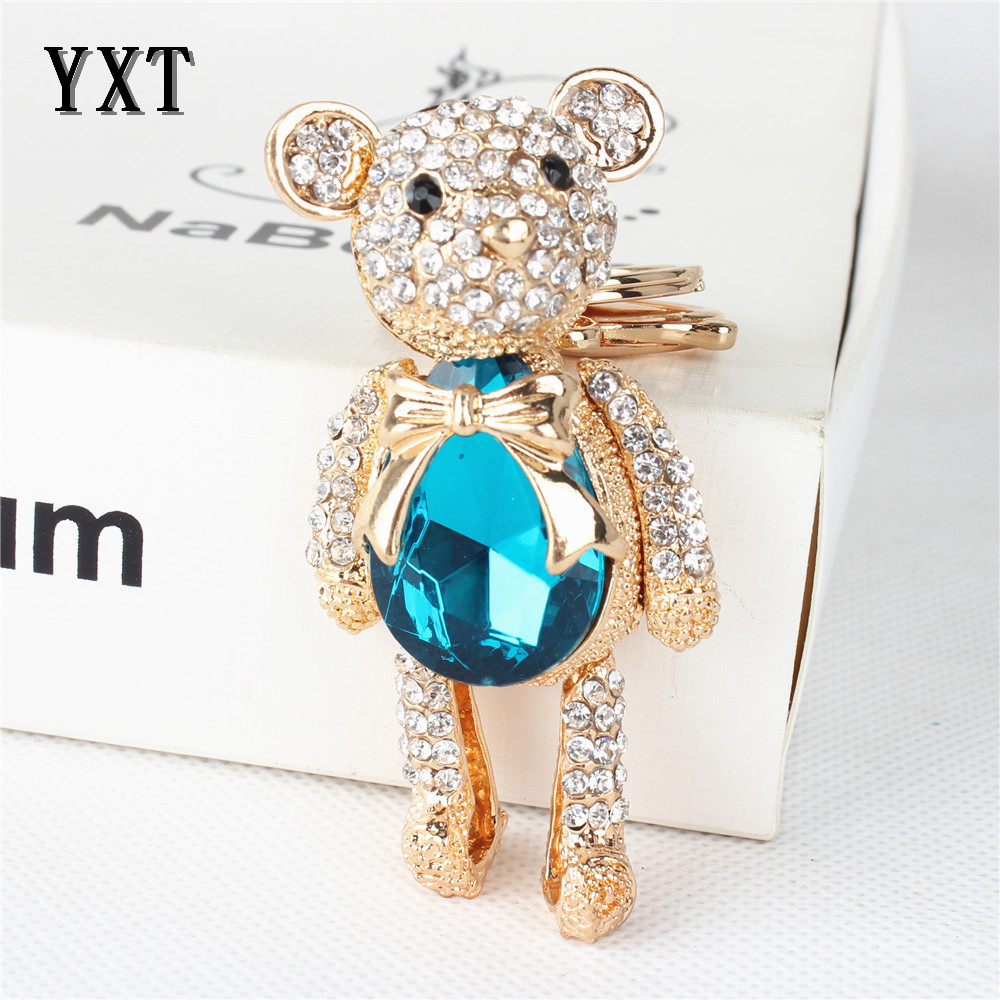 Sapphire Bear Butterfly Cute Crystal Rhinestone Charm Pendant Purse Bag Car Key Ring Chain Creative Wedding Party Gift<br><br>Aliexpress