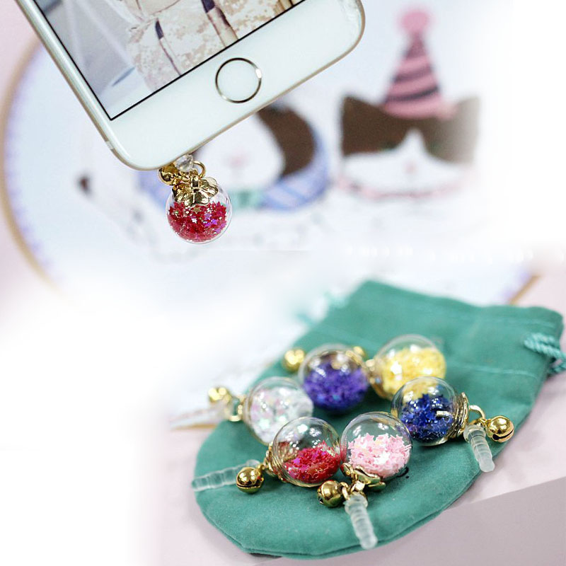 New time bubble pentagram sequins bells universal mobile phone dust plug for iphone Samsung Huawei Xiaomi(China (Mainland))