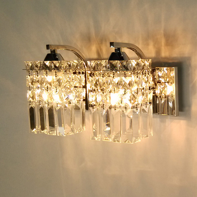 Living Room Crystal Wall Sconces : Simple and modern LED crystal lamp bedroom bedside wall lamp living room 2 lights wall sconce ...