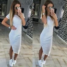 Buy Casual Summer Women Dress Short Sleeve Round Neck Slim Fit Bodycon Dress Striped Side Split T Shirt Womens Dresses AAPSD042 for $10.36 in AliExpress store