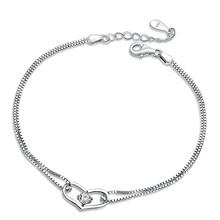 Jiayiqi 2018 Hot New Silver color Jewelry Crystal Zircon Bracelet Heart Shape Bracelets for Women Fashion Friendship Bracelets(China)