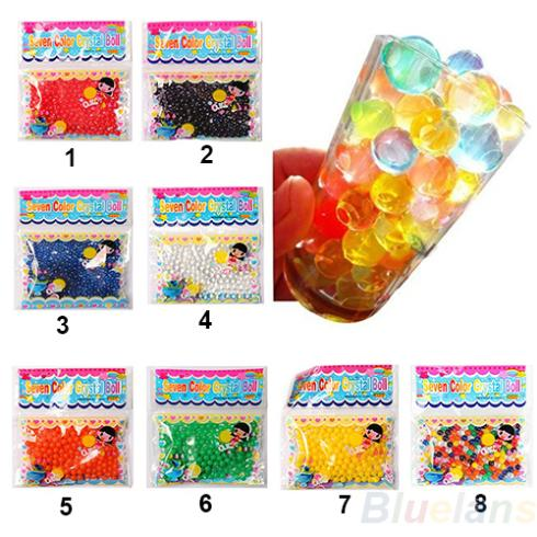 10 bags/lot Pearl shaped Crystal Soil Water Beads Mud Grow Magic Jelly balls wedding Home Decor 0585(China (Mainland))