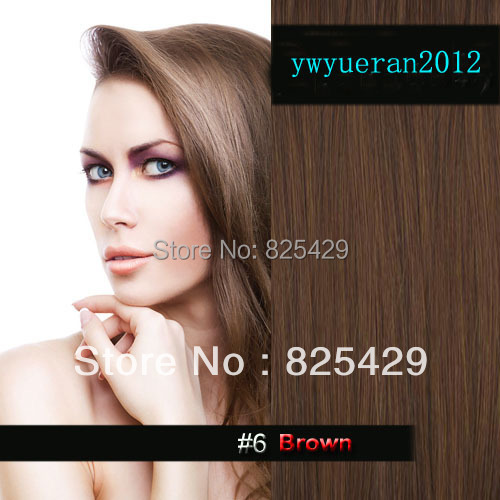 "Фотография 20"" 22""24""26"" 28"" 30""32""34"" 10pcs 180g DELUXE THICK full head  100%  real human remy hair extension clip in/on #6 brown"