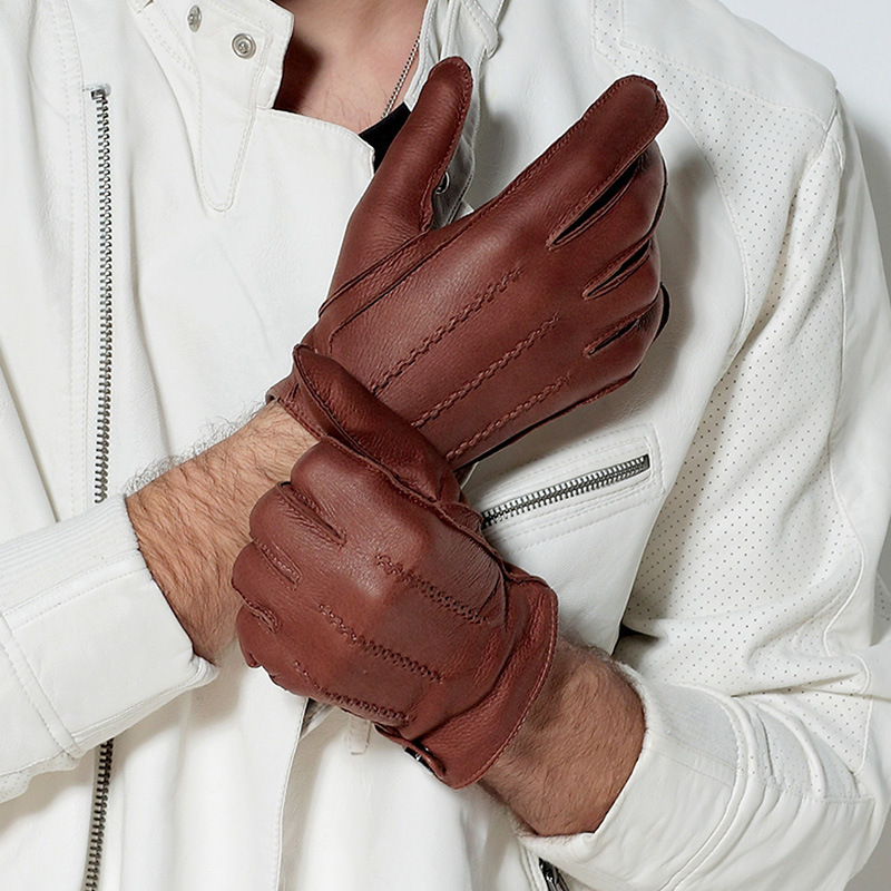 Italy imports High deerskin gloves Fashion men gloves leather gloves Winter Spring warm genuine driving gloves