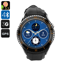 IQI I2 Android 5.1 Smart Watch - Quad Core CPU, Wi-Fi, Bluetooth 4.0, Play Store, Pedometer, Heart Rate Monitor, GPS (Black)(China (Mainland))