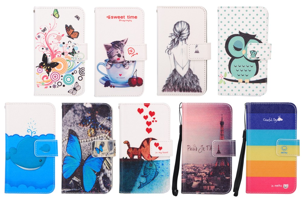 For Kazam Tornado 348 Case With Card Slots Fashion Fish Love Cat Leather Cell Phone Case Flip Stand Wallet Cover+Lanyard Gift(China (Mainland))