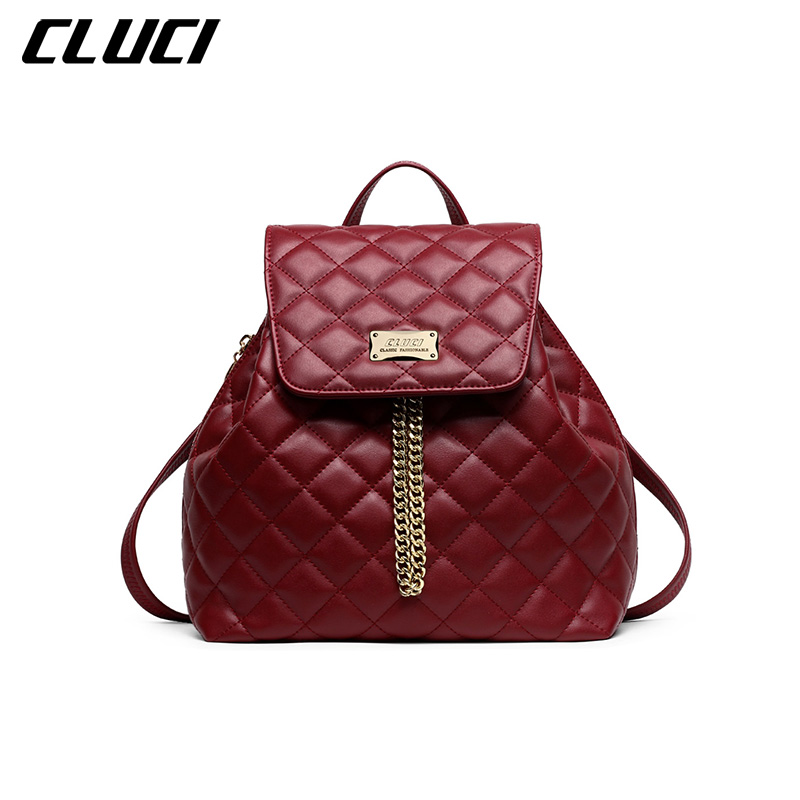Фотография CLUCI 2016 Women Backpack Leather Fashion Ladies Designer Branded Diamond Lattice School Travel Portable Backpack with Chains