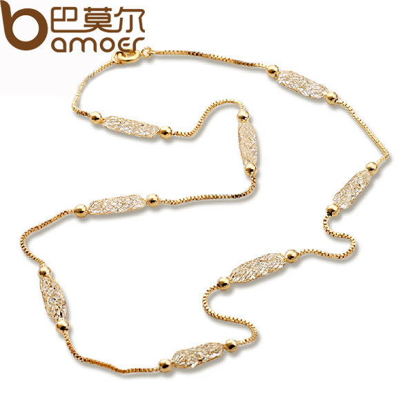 BAMOER Luxury Champagne Gold Plated Chain Necklace Zircon Crystal Necklace Women Fashion Jewelry Birthday Present JSN047(China (Mainland))