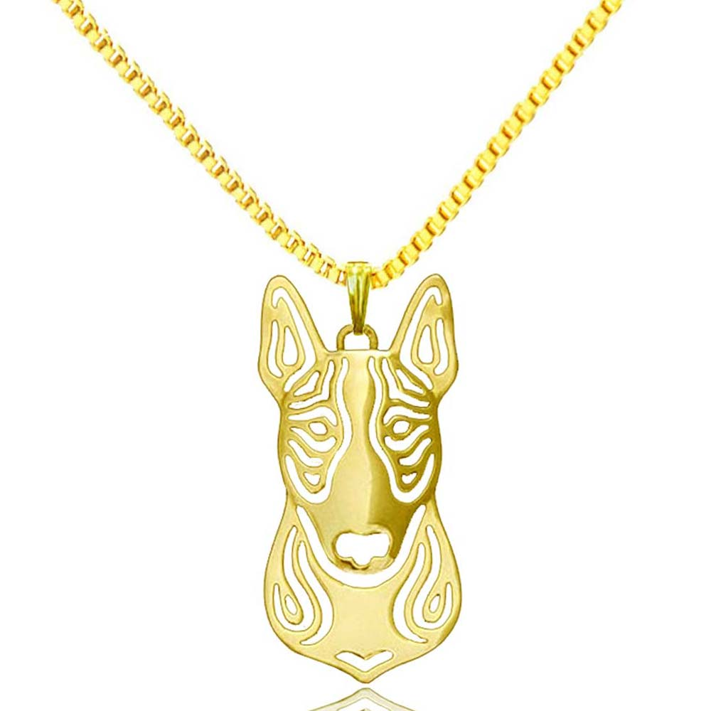 Boho gold plated Bull terrier pendant gold necklaces pendants unique Handmade dog jewelry wholesale factory direct(China (Mainland))