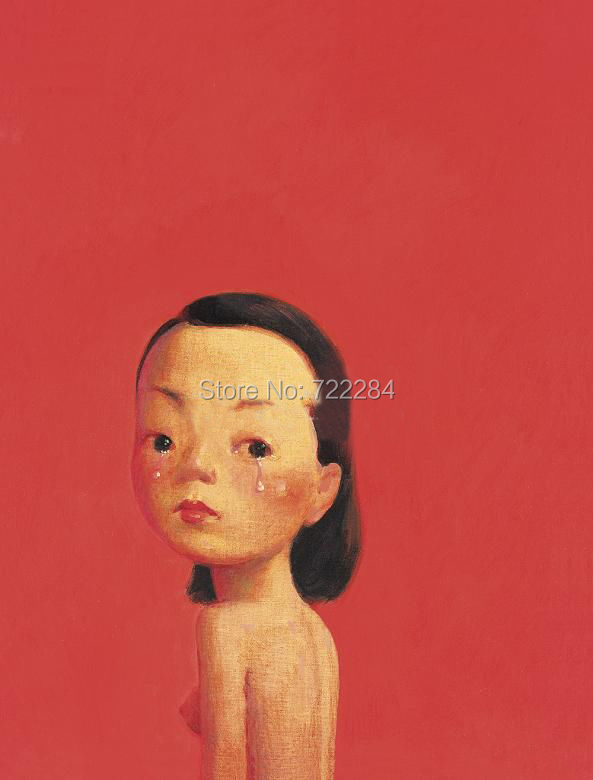 liu ye Chinese painter high quality pure hand-painted oil painting 'Girl in red world' Ly012(China (Mainland))