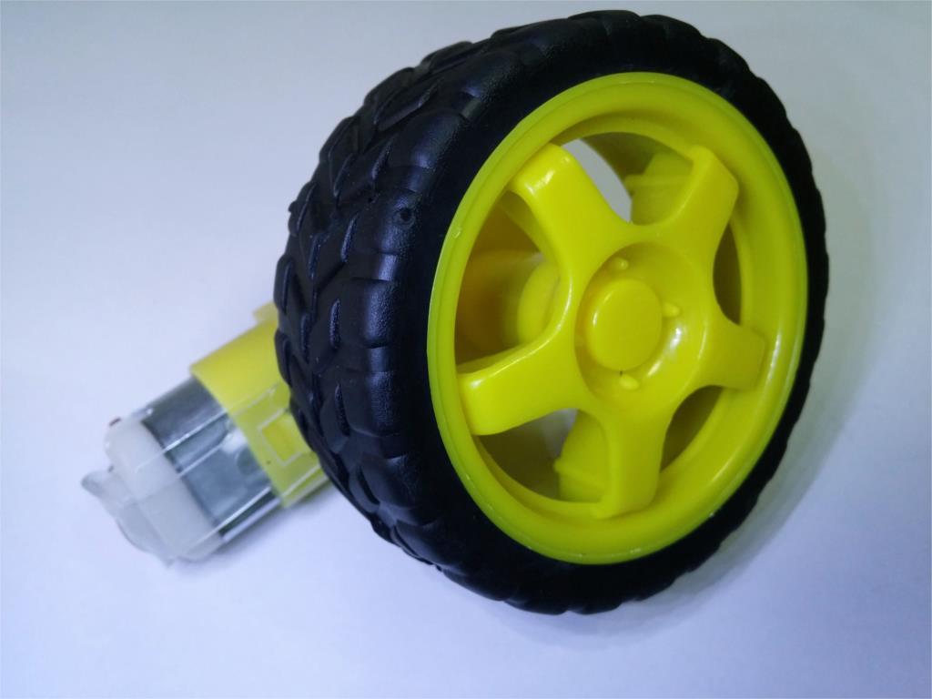 1PCS Smart Car Robot Plastic Tire Wheel With DC 3-6V Gear Motor For Arduino SG164-SZ(China (Mainland))
