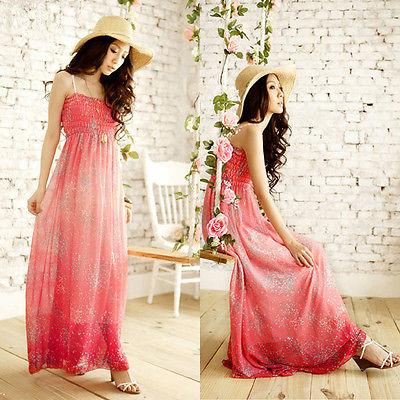 Women print Sexy Boho Long Maxi Dress Ladies Summer Beach Sun Dress