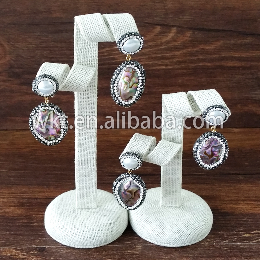 Wholesale high quality natural Abalone pearl earrings studs Gorgeous natural shell pearl CZ around paved earring studs<br><br>Aliexpress