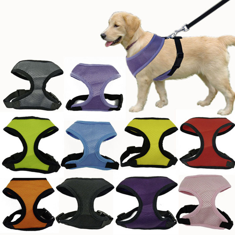 Fashion Dog Harness Soft Air Nylon Mesh Pet Harness Cheap Dog Cloth Pet Dog Cat Vest Harness Dog Apparel Small 10 Colors 5 Size(China (Mainland))