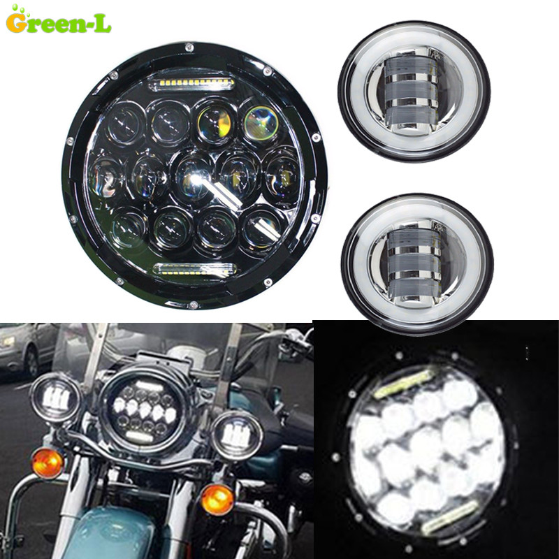 75W Round 7Inch LED Headlight + 2X 30W 4.5 inch Motorcycle Davidson Lamps LED Auxiliary Passing DRL Lights for Harley Davidson(China (Mainland))