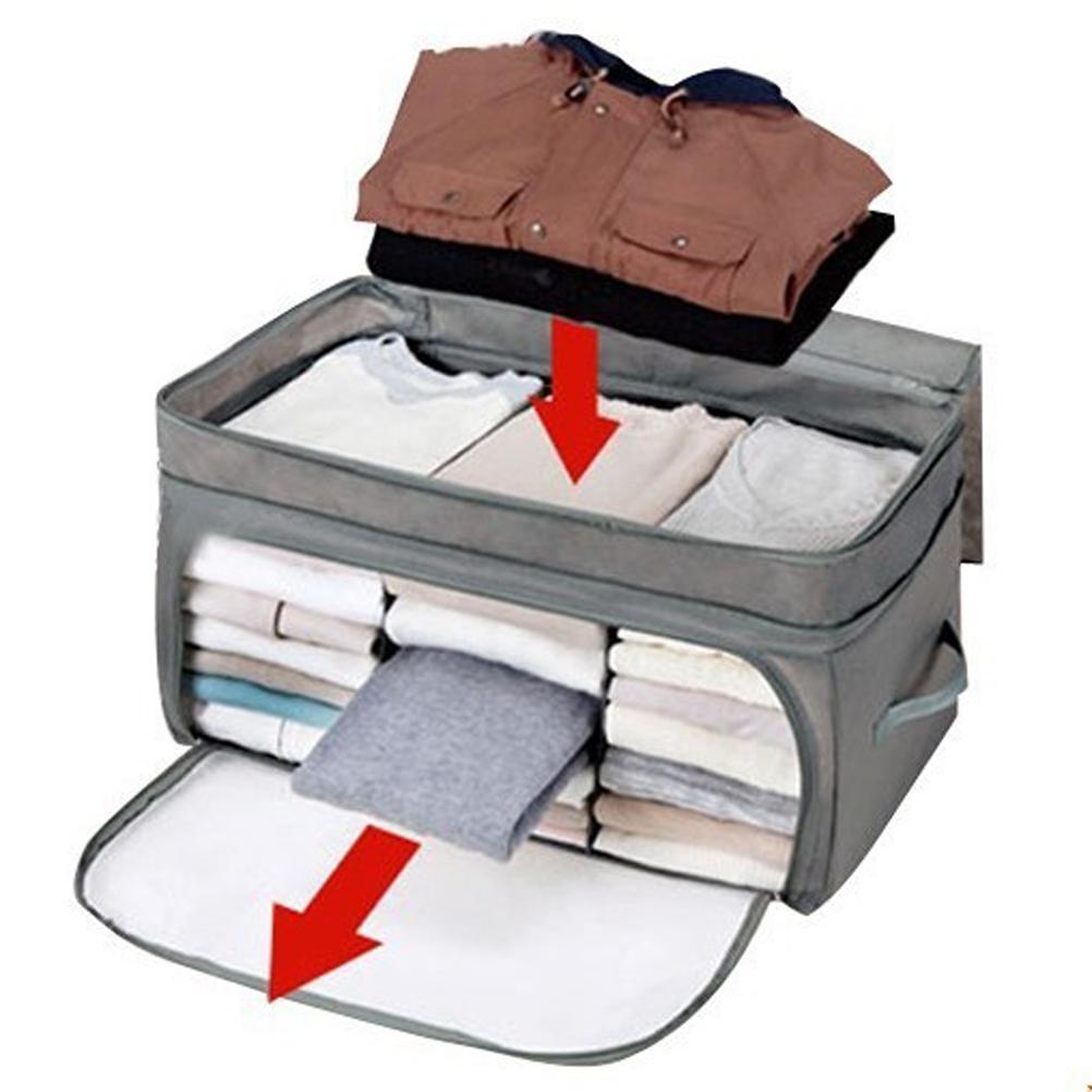 69L Foldable Anti-bacterial Bamboo Charcoal Transparent Window Clothes Blanket Storage Bag Box Organizer (Grey)(China (Mainland))