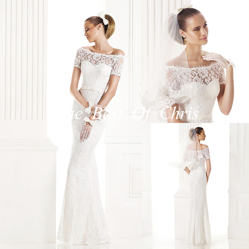 2015 Sweetheart Lace Short Sleeve Sheath Wedding Dresses Vestidos De Novia Robe Mariage Bridal Gowns Real Photo - The Best Of Chris Dress Co.,Ltd store