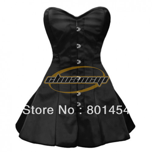 Free Shipping! Black satin style Flared corset Dress Waist Reducing Satin Corset Tops plus sizelong evening gowns(China (Mainland))