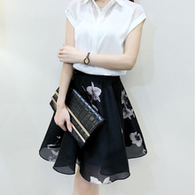 Women European mini skirt plaid high waist ruffles pleated floral print fashion women sumerr skirt