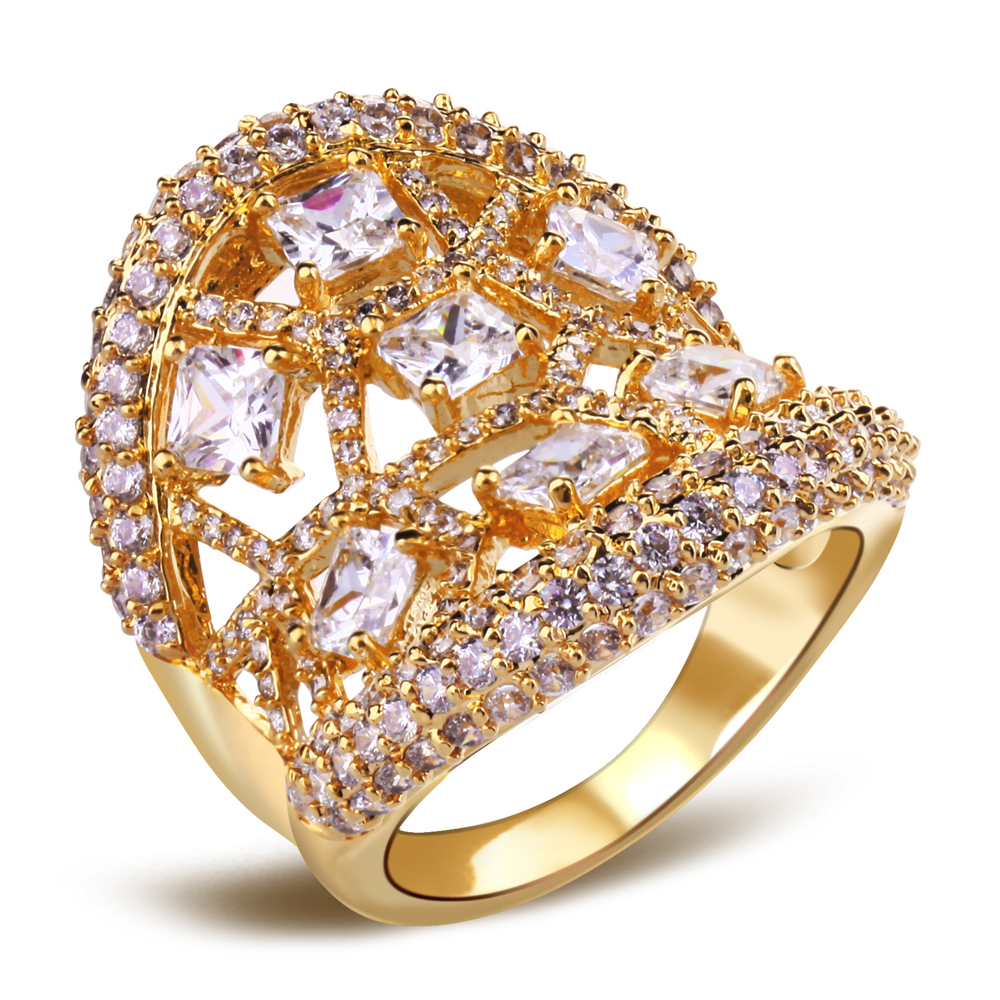 Fashion Secret 18K Gold Plated Latest Women Luxury Round Ring AAA Cubic Zirconia Ring 216 pc of CZ Allergy Free Lead Nickel Free(China (Mainland))