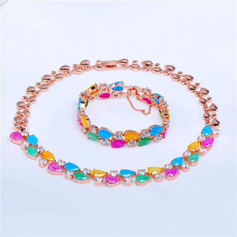 Women Fashion Colorful Sapphire Jewelry Sets Multi-Color Ice Cubic Zircon Rose/White Gold Filled Wedding Set Necklace &amp; Bracelet<br><br>Aliexpress