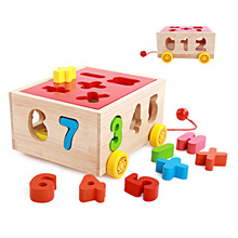 Puzzle New children's educational early childhood drag digital intelligence box shape matching toy figures baby wooden toys(China (Mainland))