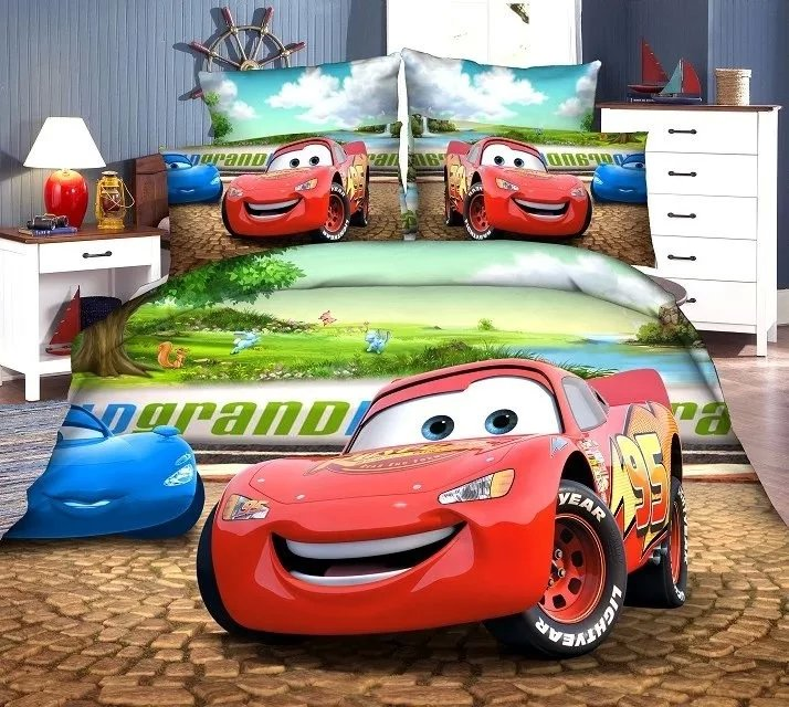 3D McQueen car-covers bedding set twin single size baby boy's bedroom decor duvet covers sheets 3pc green red Reactive printing(China (Mainland))