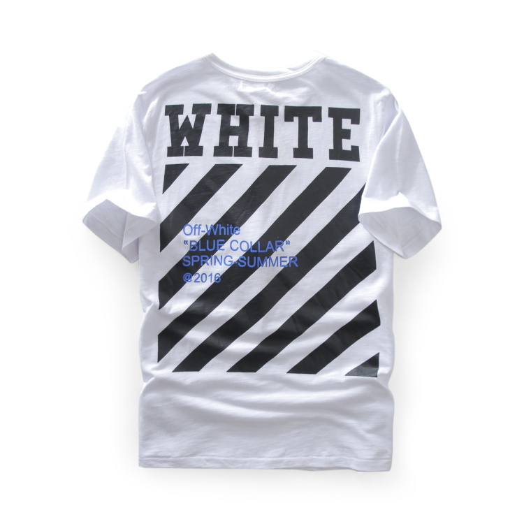 2016 ss new version OFF White Pyrex blue collar short sleeve T-Shirt kanye west top tee t shirt off-white c/o virgil abloh(China (Mainland))
