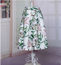 free shipping summer rockabilly skirt Umbrella skirt high waist skirt of bitter fleabane bitter fleabane skirt retro printing