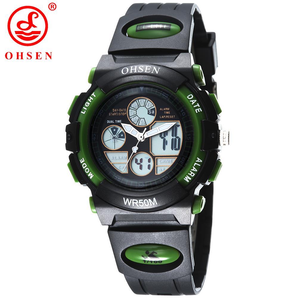 Boys Girls Outdoor Sports Watch Digital Army LED 2 Time Zone Quartz Chronograph Jelly Silicone Wristwatches Swim 50M Waterproof(China (Mainland))